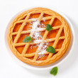 Lattice topped apricot crostata — Stock Photo
