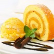 Swiss Roll with yellow sherbet — Stock Photo