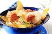 Cellophane noodles with meatballs — Stock Photo