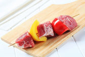 Raw pork kebab — Stock Photo