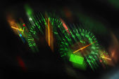 Sports car dashboard at night — Stock Photo