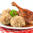 Roast duck with Tyrolean dumplings and red cabbage — Stock Photo