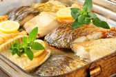 Oven roasted carp fillets — Stock Photo