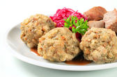 Roast pork with Tyrolean dumplings and red kraut — Stock Photo