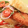Fried fish sandwich — Stock Photo