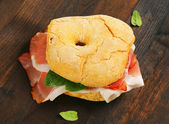 Dry-cured ham sandwich — Stock Photo