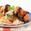 Stock Photo: Eggplant wrapped meatballs with spaghetti