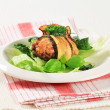 Stock Photo: Courgette wrapped meatball