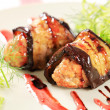 Stockfoto: Eggplant wrapped meatballs