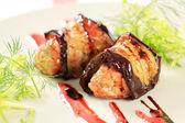 Eggplant wrapped meatballs — Stock Photo