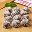 Chocolate coconut snowball cookies — Stock Photo
