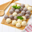 Chocolate coconut snowballs — Stock Photo