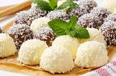 Chocolate coconut snowballs — Stock Photo