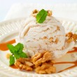 Walnut ice cream with caramel sauce — Stock Photo #39921353