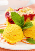 Raspberry cake with ice-cream — Stock Photo