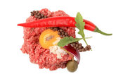 Steak tartare ingredients — Stock Photo