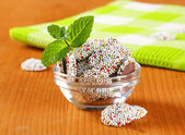 Chocolate sprinkle cookies — Stock Photo