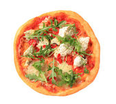 Pizza quattro formaggi with arugula — Stock Photo