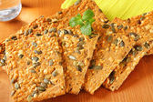 Pumpkin seed cheddar crackers — Stock Photo