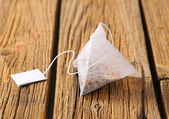 Pyramid tea bag — Stock Photo