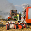 Stock Photo: Burning round baler