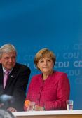 Angela Merkel and Volker Bouffier — Stock Photo