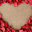 Heart shaped frame made by red petals — Stock Photo #12252376