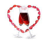 Wineglasses with red wine inside a heart shape — Stock Photo