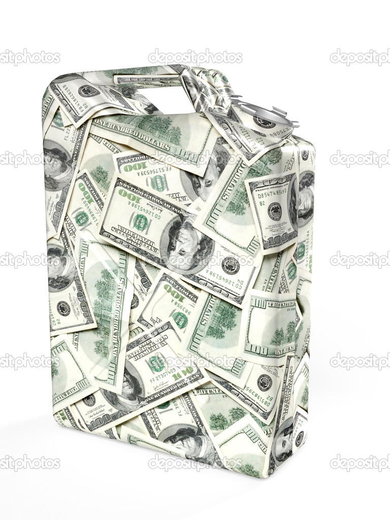 Gas canister made from dollar bills isolated on white background — Stock Photo #12252309