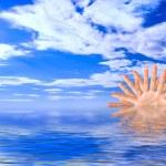 Conceptual Sunrise over Blue Ocean Water — Stock Photo #2597662
