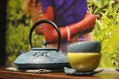 Théière asiatique en fer noir — Photo