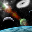 Planets in space, background — Stockfoto