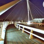 City modern bridge background in liege — Stock Photo #44142037