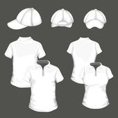 Polo shirts and baseball cap — Cтоковый вектор