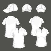 Camisas de polo y gorra de béisbol — Vector de stock