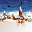 Stock Vector: Winter scene - christmas card