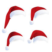 Rode santa hoeden — Stockvector