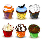 Halloween Cupcakes — Vector de stock