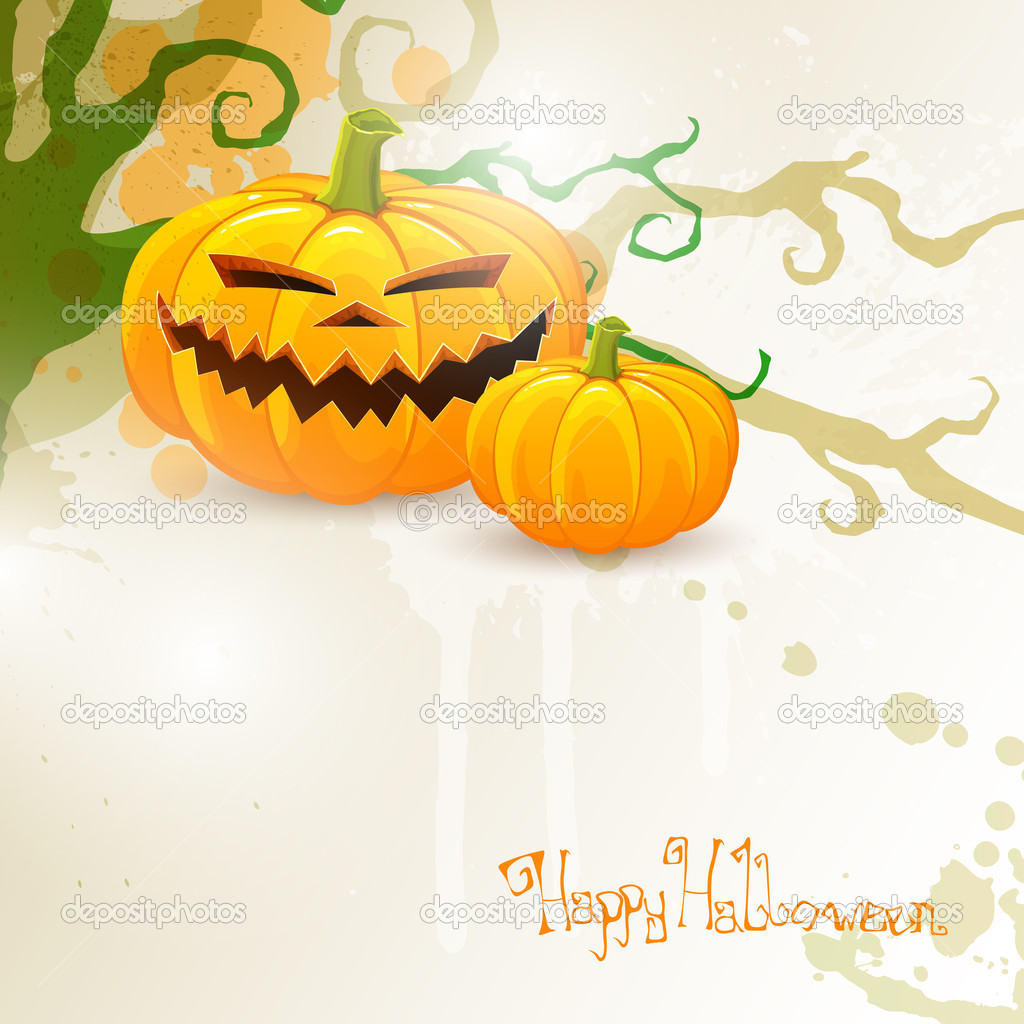 Vector Illustration of a Halloween Background with Pumpkiins — Stock Vector #14579329