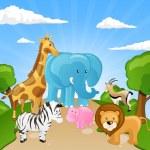 animaux d'Afrique dessin animé — Vecteur #15761489