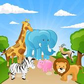 Animaux d'afrique dessin animé — Vecteur