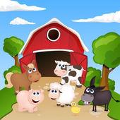 Gård med djur — Stockvektor