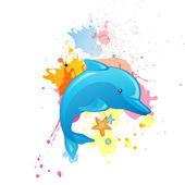 Delfines en caricatura — Vector de stock