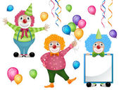 Colorful Clowns and Balloons — Stock Vector