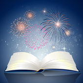 Book with Fire Works — Stock Vector
