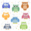 Colorful Owls — Vector de stock