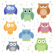 Colorful Owls — Stock vektor