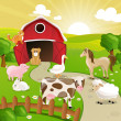 Stock Vector: Farm with Animals