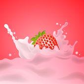 Strawberry Milk Splash — Stock Vector