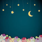 Little Town at Night — Stock Vector